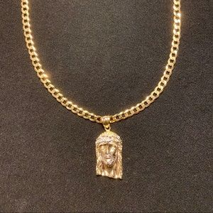 Gold Chain Cuban Curb 4mm and Jesus Piece